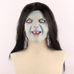 Horrible Ghost Printed Halloween Mask With Wig