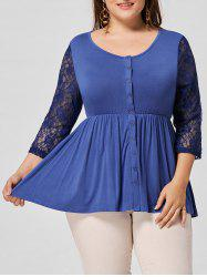 Button Embellished Lace Panel Plus Size T-shirt