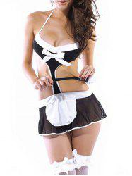 Backless Sexy Housemaid Costume - BLACK ONE SIZE