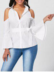 Tie Front Bell Sleeve Cold Shoulder Blouse