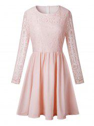 Long Sleeve A Line Lace Trim Dress