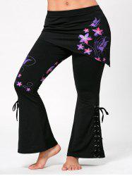 Plus Size Criss Cross Butterfly Flare Pants