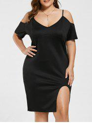 Cutout Cold Shoulder Spaghetti Strap Plus Size Dress