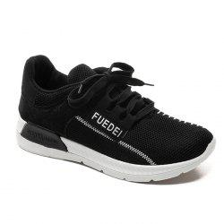 Mesh Color Block Breathable Athletic Shoes - WHITE AND BLACK 39