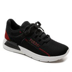 Mesh Color Block Breathable Athletic Shoes - RED WITH BLACK 39