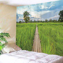 Wood Road to The Fields Print Wall Tapestry