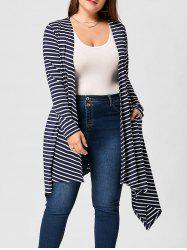 Plus Size Handkerchief Hem Striped Cardigan