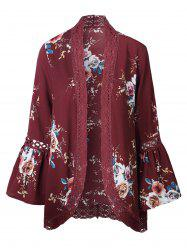 Hollow Out Lace Insert Flare Sleeve Kimono - RED M
