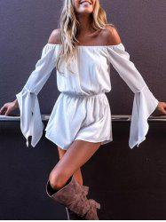 Off The Shoulder Flare Sleeve Romper - Blanc S
