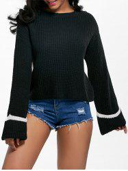 Cuff Flare Sleeve Two Tone Sweater