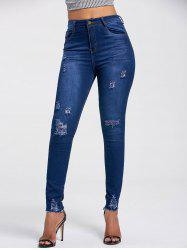 High Rise Ripped Skinny Jeans - DEEP BLUE 2XL