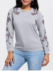Floral Embroidery Pullover Sweatshirt