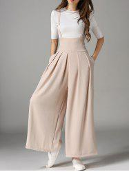 Cross Back Wide Leg Suspender Pants