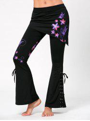 Flower Butterfly Print Criss Cross Flare Pants