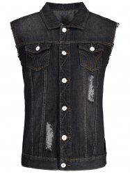 Button Up Ripped Denim Waistcoat