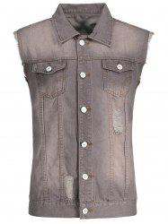 Ripped Button Up Denim Waistcoat