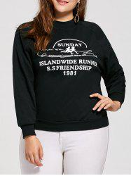 Plus Size Sunday Graphic  Raglan Sleeve Sweatshirt