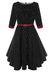 A Line Vintage Pinstriped Belted Dress -