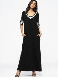 Contrasting Patched Loose Maxi Dress -