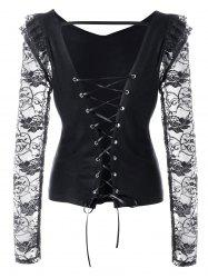 Lace Panel Open Back Lace Up Top -
