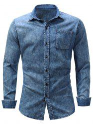 Pocket Bleached Effect Chambray Shirt -