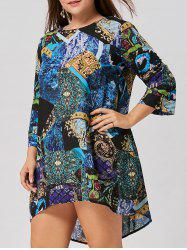 Tribal Print Plus Size Asymmetric Dress -