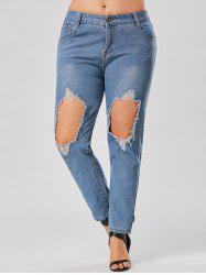 Plus Size Distressed Hole Boyfriend Jeans -