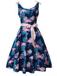 Flamingo and Monstera Print Vintage Cocktail Dress -
