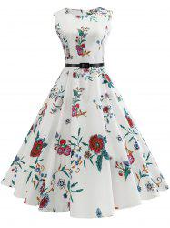 Vintage Sleeveless Flower Print A Line Dress -