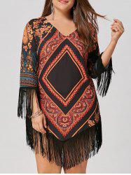 Chiffon Tassel Plus Size Tribal Printed Dress -