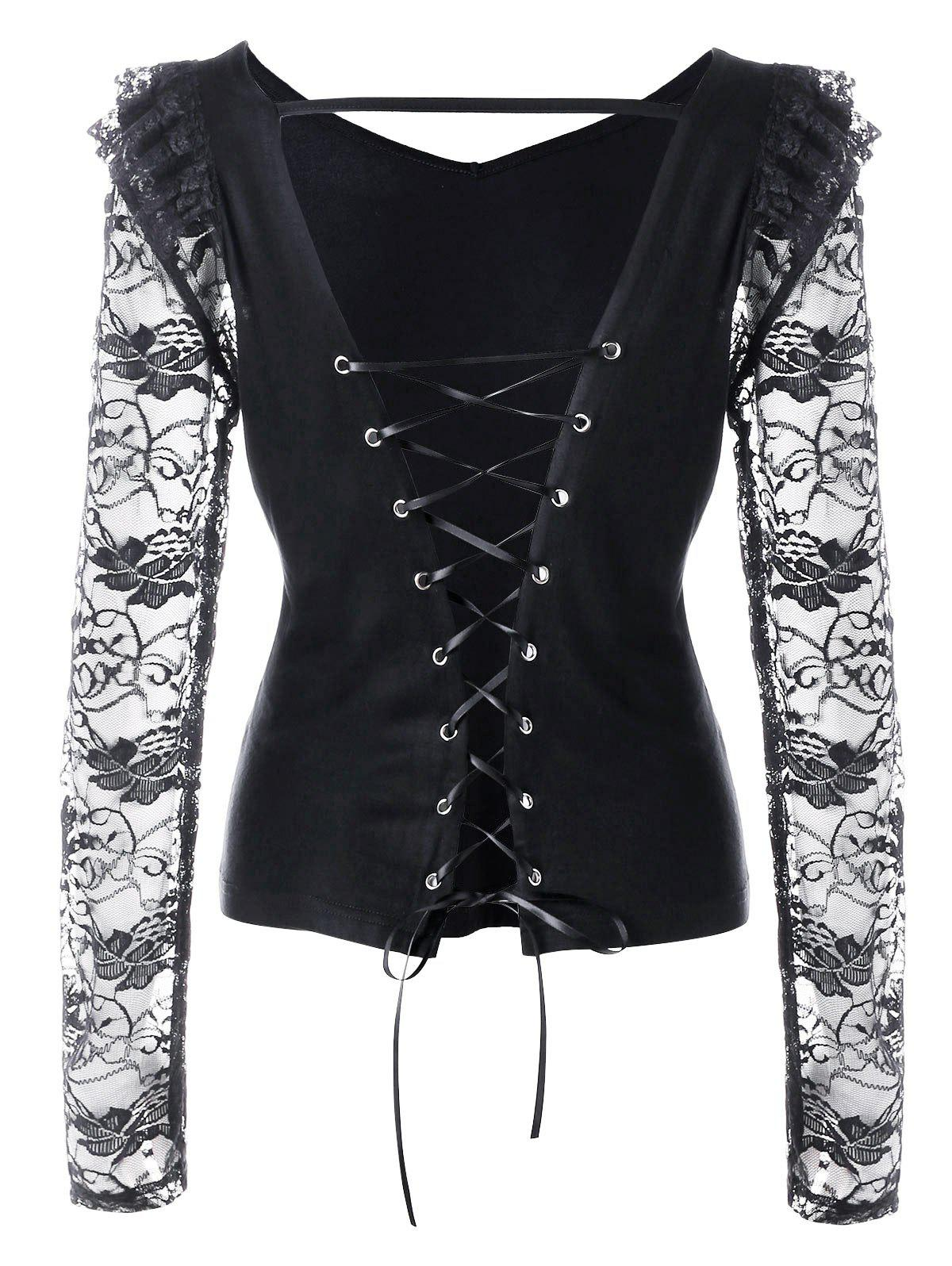 Shops Lace Panel Open Back Lace Up Top