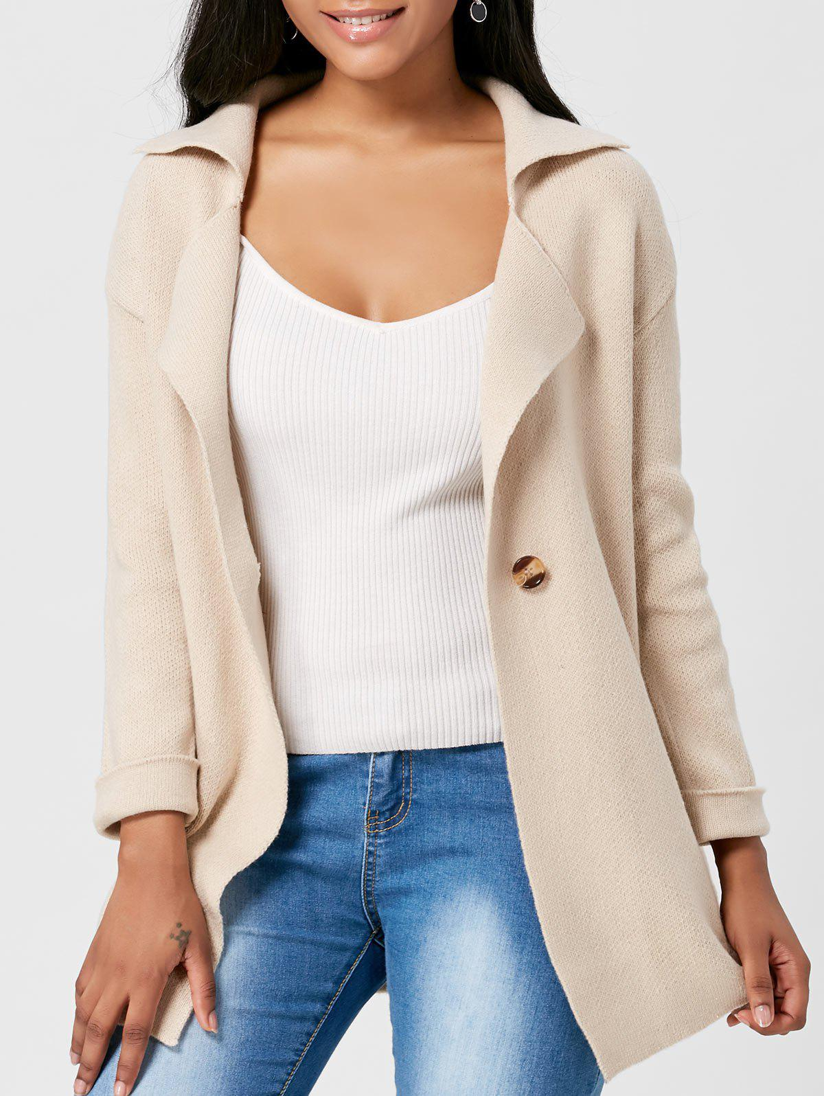 Lapel One Button Knitted CardiganWOMEN<br><br>Size: ONE SIZE; Color: LIGHT CAMEL; Type: Cardigans; Material: Acrylic,Spandex,Viscose; Sleeve Length: Full; Collar: Lapel; Style: Fashion; Pattern Type: Solid; Season: Winter; Weight: 0.6500kg; Package Contents: 1 x Cardigan;