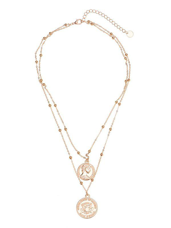 Shops Engraved Peace Dove Layered Coin Necklace