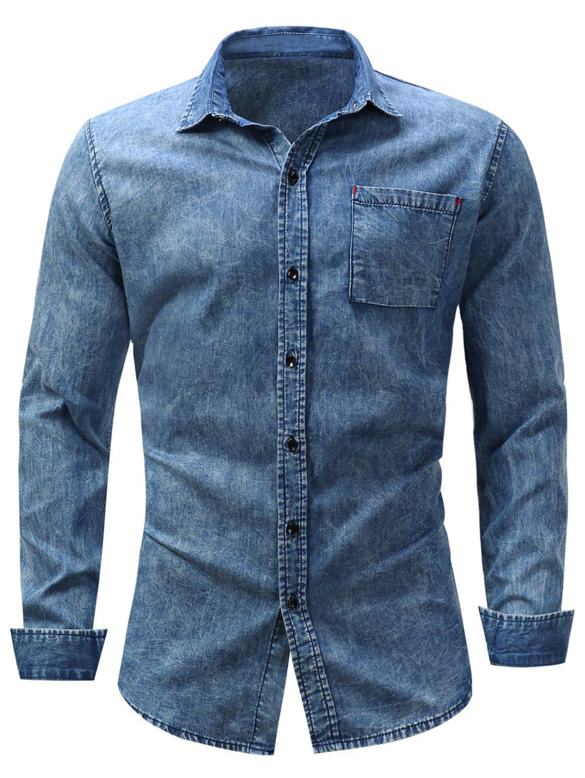 Pocket Bleached Effect Chambray ShirtMEN<br><br>Size: M; Color: DENIM BLUE; Shirts Type: Casual Shirts; Material: Cotton,Jean; Sleeve Length: Full; Collar: Turndown Collar; Pattern Type: Solid; Weight: 0.3400kg; Package Contents: 1 x Shirt;