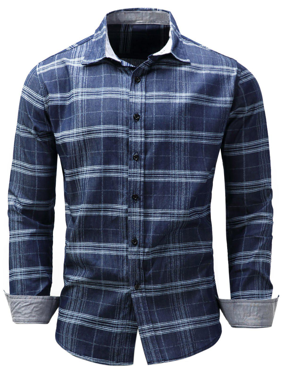 Long Sleeve Tartan Chambray ShirtMEN<br><br>Size: 3XL; Color: BLUE; Shirts Type: Casual Shirts; Material: Cotton,Jean; Sleeve Length: Full; Collar: Turndown Collar; Pattern Type: Plaid; Weight: 0.3200kg; Package Contents: 1 x Shirt;