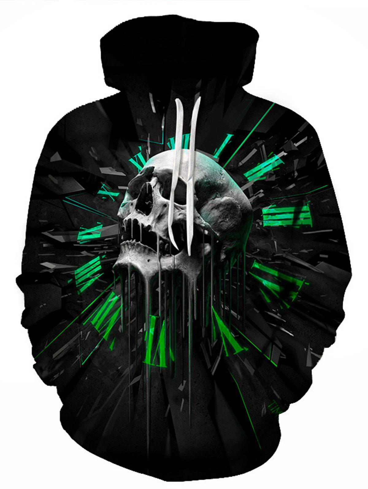 3D Skull Graphic Print Pullover HoodieMEN<br><br>Size: 3XL; Color: BLACK; Material: Cotton,Polyester; Shirt Length: Regular; Sleeve Length: Full; Style: Fashion; Weight: 0.4800kg; Package Contents: 1 x Hoodie;