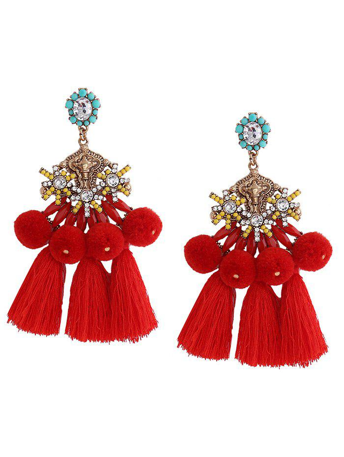 New Ethnic Pom Pom Tassel Pendant Earrings