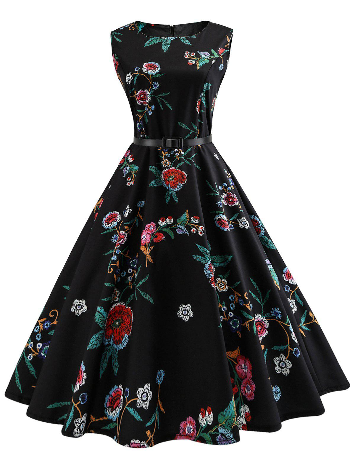 Fashion Vintage Sleeveless Flower Print A Line Dress