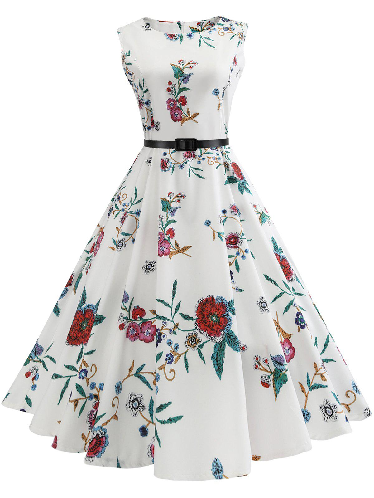 Vintage Sleeveless Flower Print A Line DressWOMEN<br><br>Size: XL; Color: WHITE; Style: Vintage; Material: Cotton,Polyester; Silhouette: A-Line; Dresses Length: Knee-Length; Neckline: Round Collar; Sleeve Length: Sleeveless; Pattern Type: Floral; With Belt: Yes; Season: Fall,Summer; Weight: 0.3500kg; Package Contents: 1 x Dress  1 x Belt;