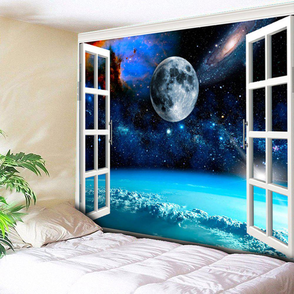 Window Star Sky Planet Wall TapestryHOME<br><br>Size: W79 INCH * L59 INCH; Color: BLUE; Style: Natural; Material: Cotton,Polyester; Feature: Removable,Washable; Shape/Pattern: Window; Weight: 0.3000kg; Package Contents: 1 x Tapestry;