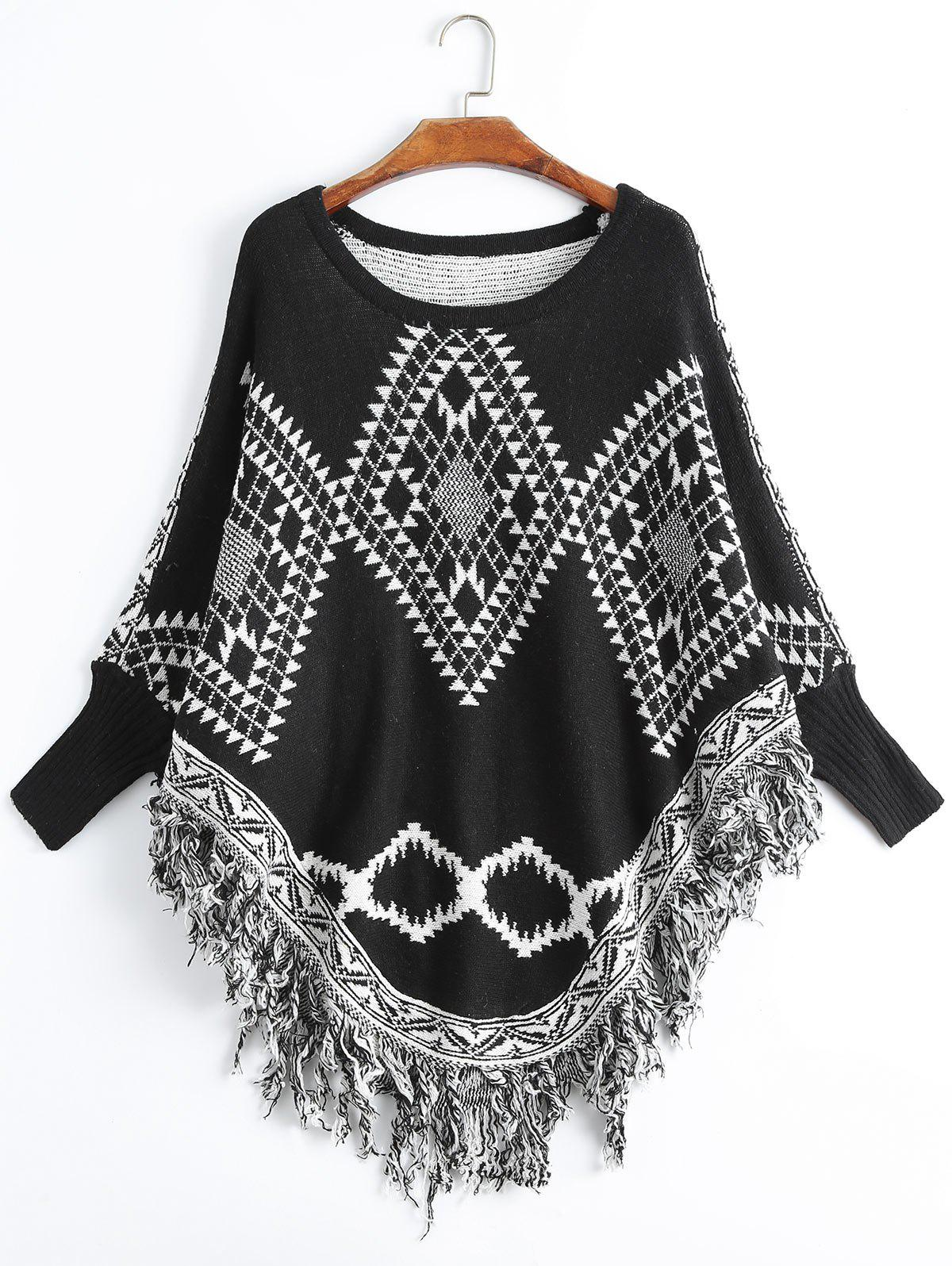 Geometric Fringed Plus Size Poncho SweaterWOMEN<br><br>Size: ONE SIZE; Color: BLACK; Type: Pullovers; Material: Polyester,Spandex; Sleeve Length: Full; Collar: Crew Neck; Style: Fashion; Season: Fall; Pattern Type: Geometric; Weight: 0.5500kg; Package Contents: 1 x Sweater;