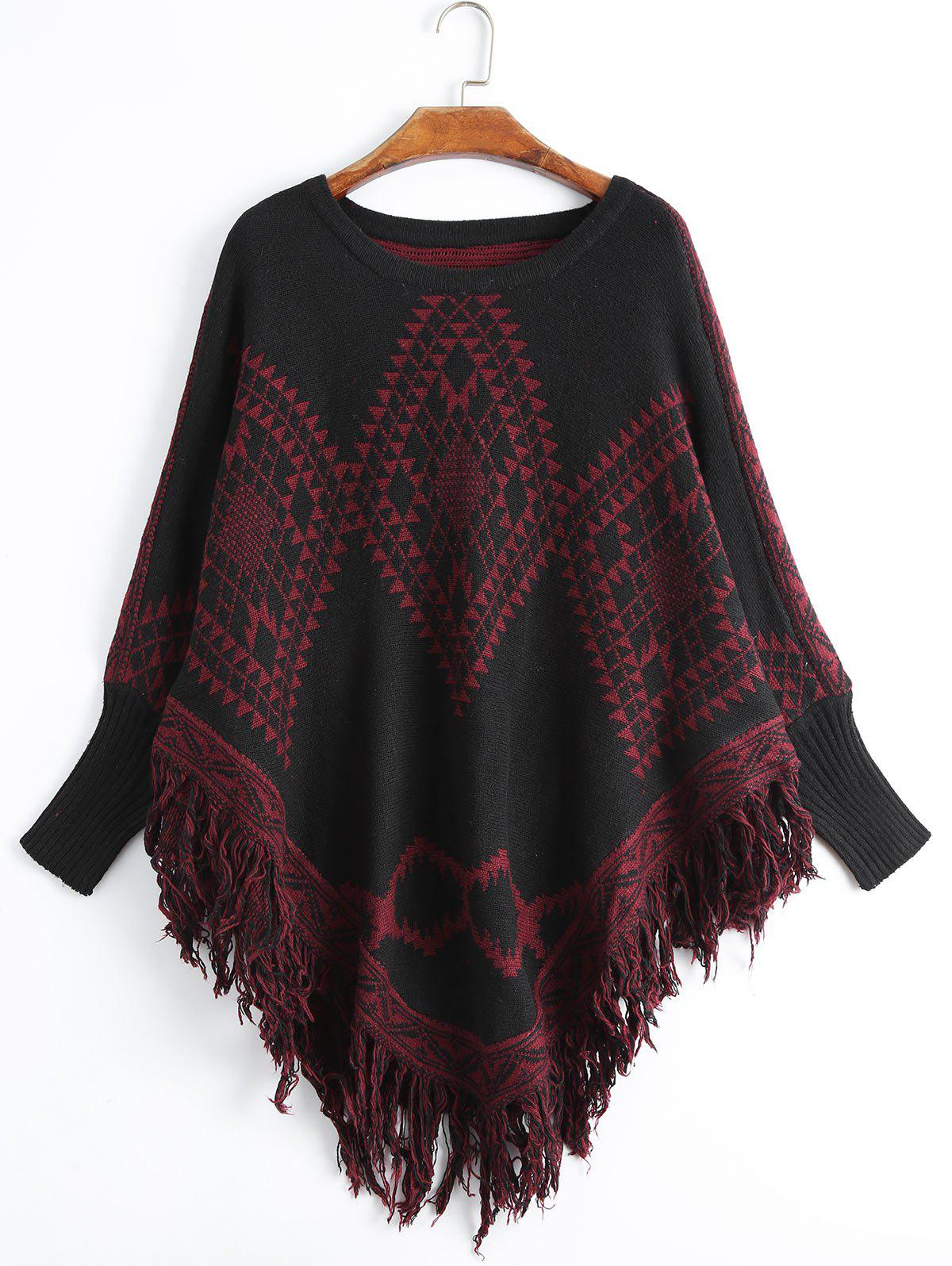 Geometric Fringed Plus Size Poncho SweaterWOMEN<br><br>Size: ONE SIZE; Color: DEEP RED; Type: Pullovers; Material: Polyester,Spandex; Sleeve Length: Full; Collar: Crew Neck; Style: Fashion; Season: Fall; Pattern Type: Geometric; Weight: 0.5500kg; Package Contents: 1 x Sweater;