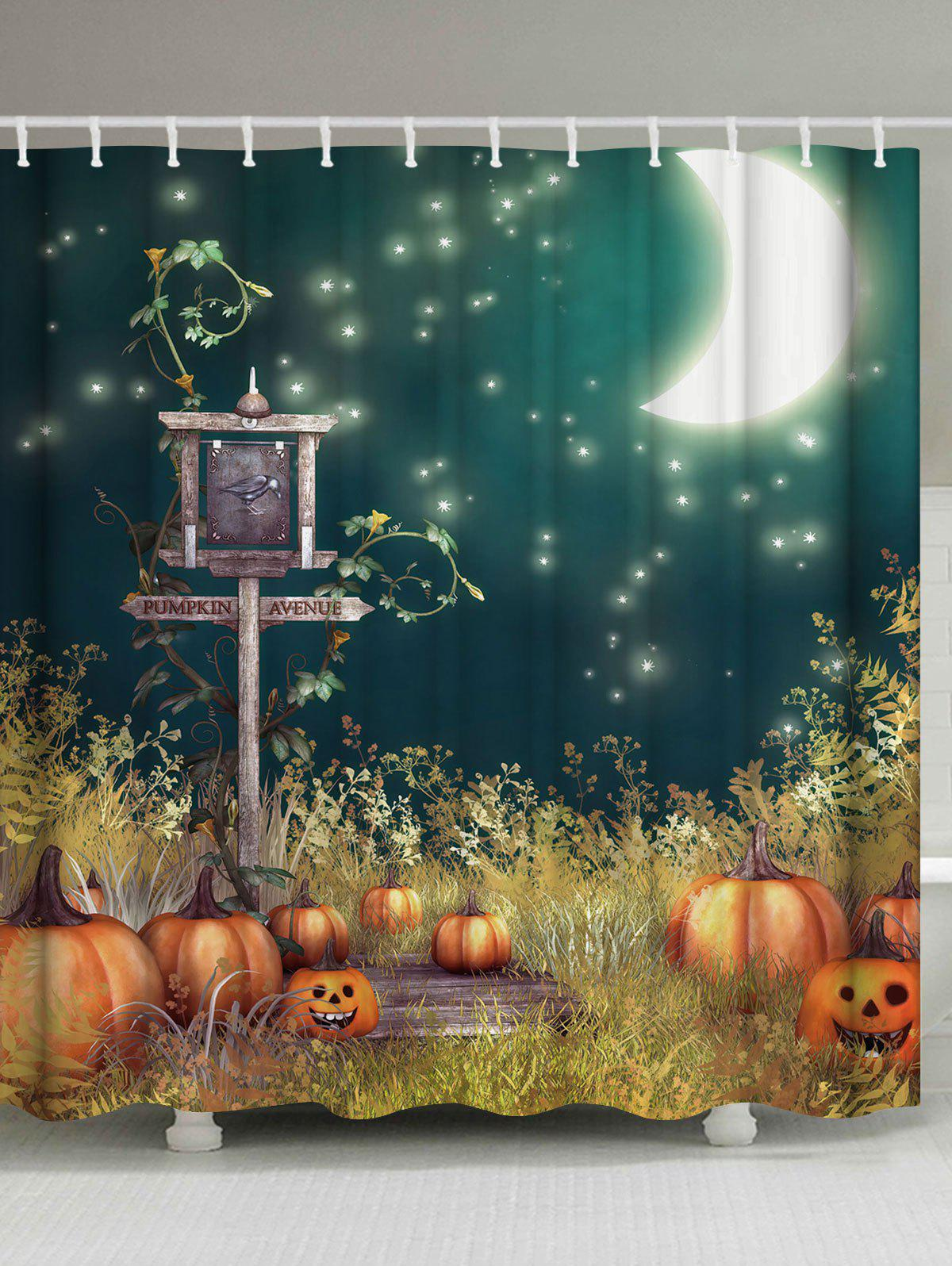 Moonnight Pumpkin Fabric Halloween Shower CurtainHOME<br><br>Size: W71 INCH * L71 INCH; Color: COLORMIX; Products Type: Shower Curtains; Materials: Polyester; Pattern: Print,Pumpkin; Style: Festival; Number of Hook Holes: W59 inch*L71 inch: 10; W71 inch*L71 inch: 12; W71 inch*L79 inch: 12; Package Contents: 1 x Shower Curtain 1 x Hooks (Set);