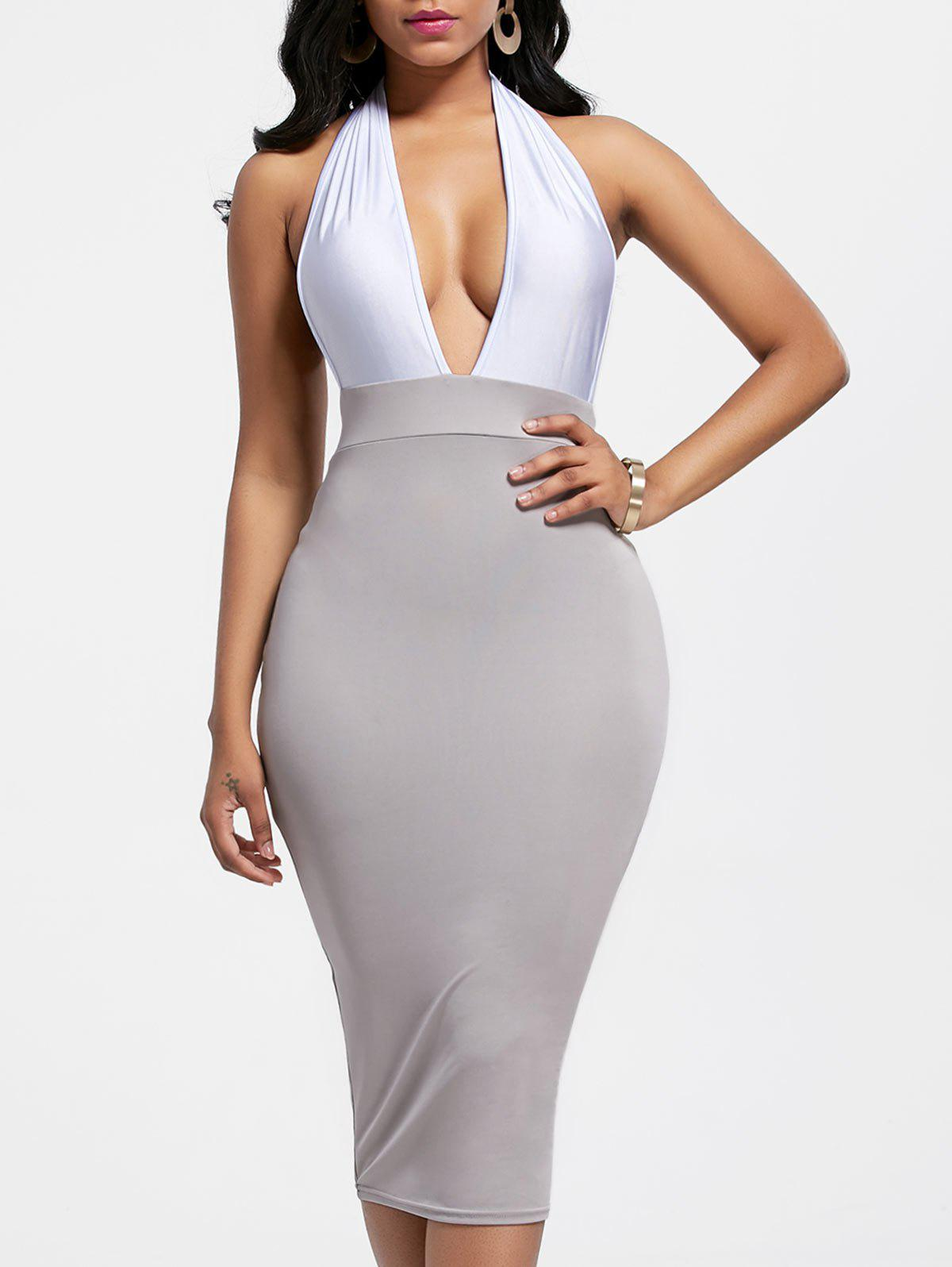 a85ccf2d4567 Trendy Sexy Plunging Neck Sleeveless Color Block Bodycon Women's Club Dress