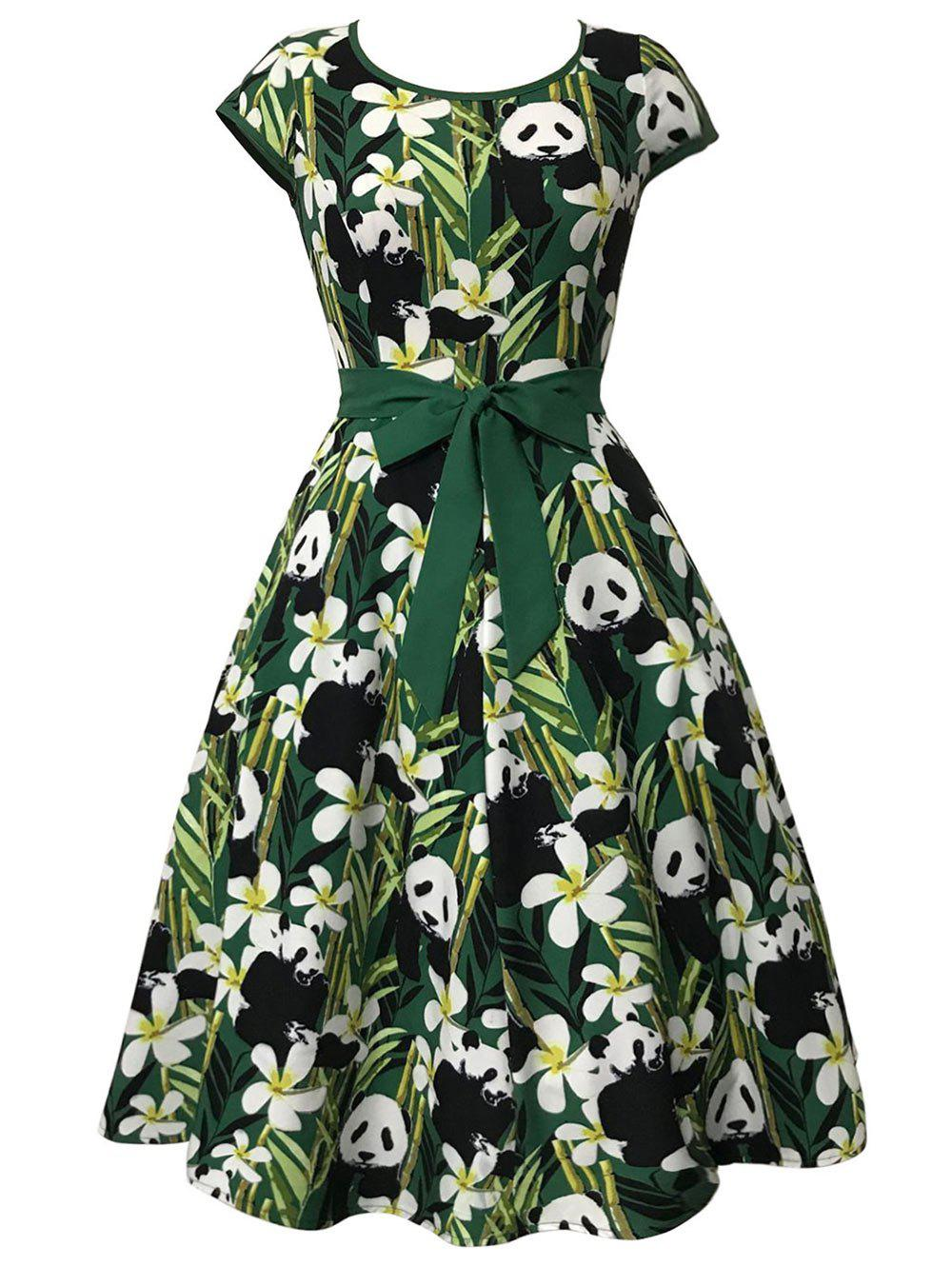 Affordable Bamboo and Panda Print Vintage Dress
