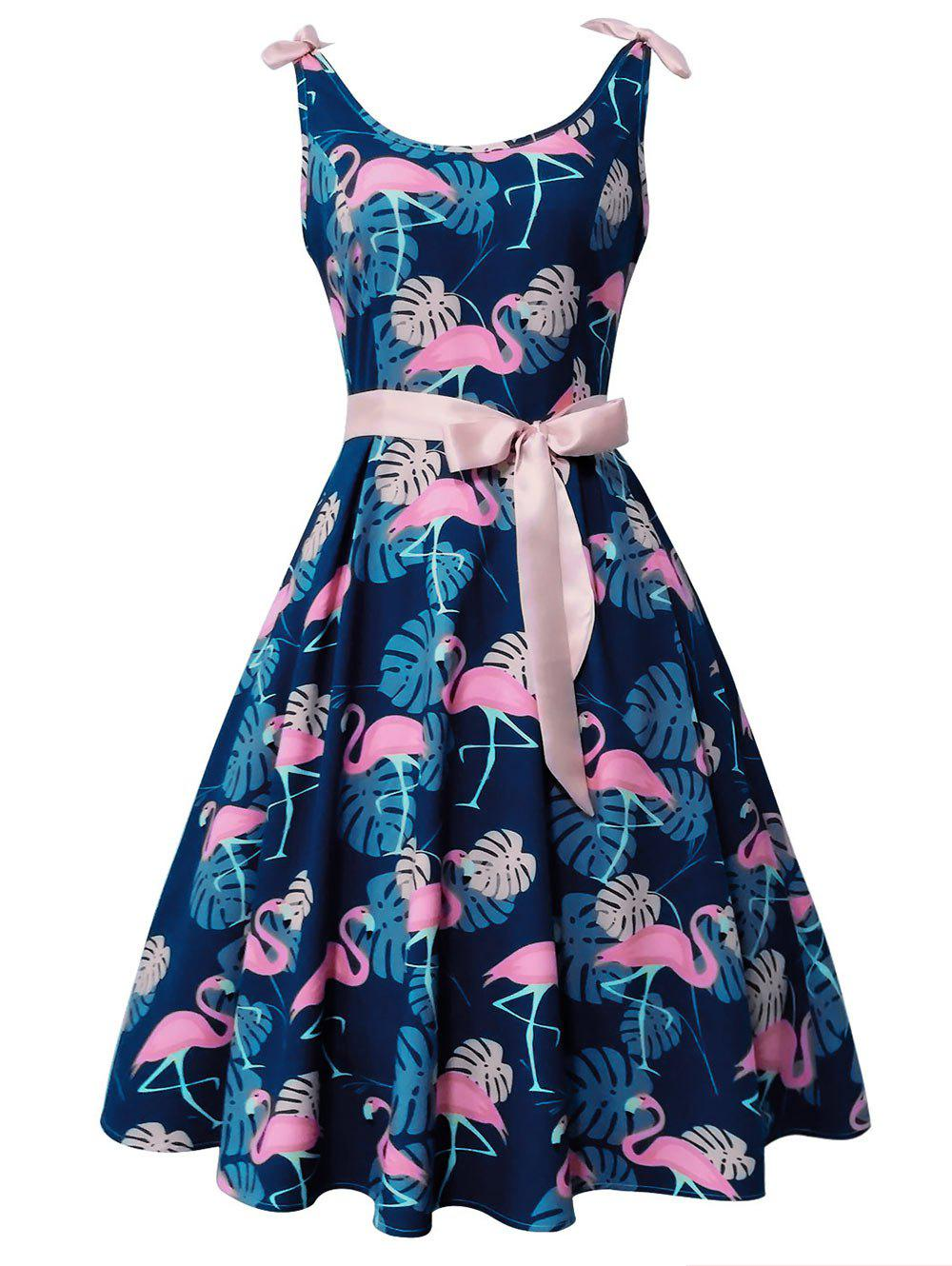 Affordable Flamingo and Monstera Print Vintage Cocktail Dress