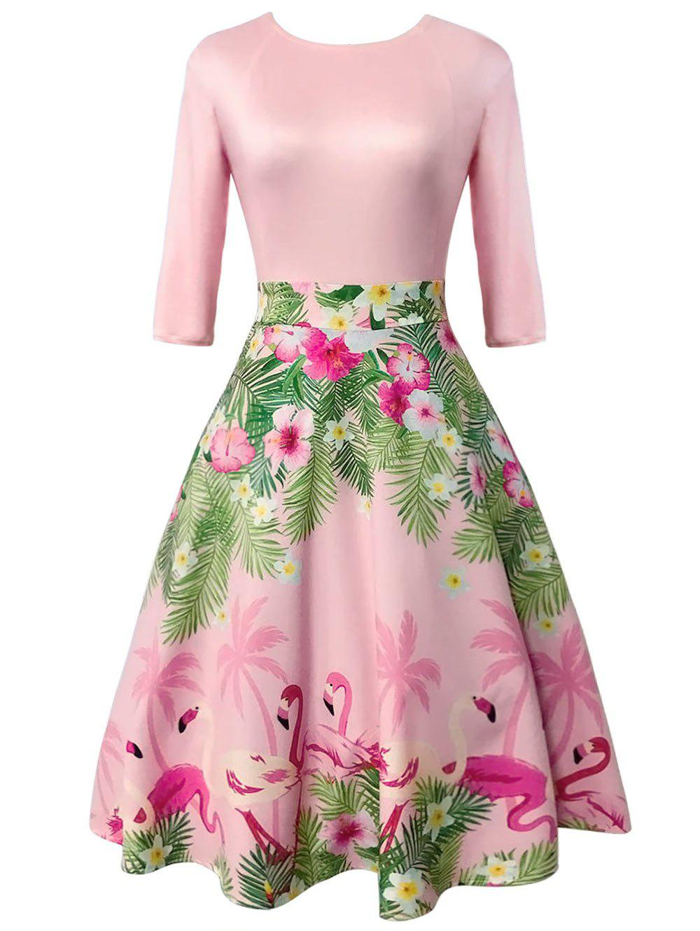 Outfits Floral and Flamingo Print Vintage Dress