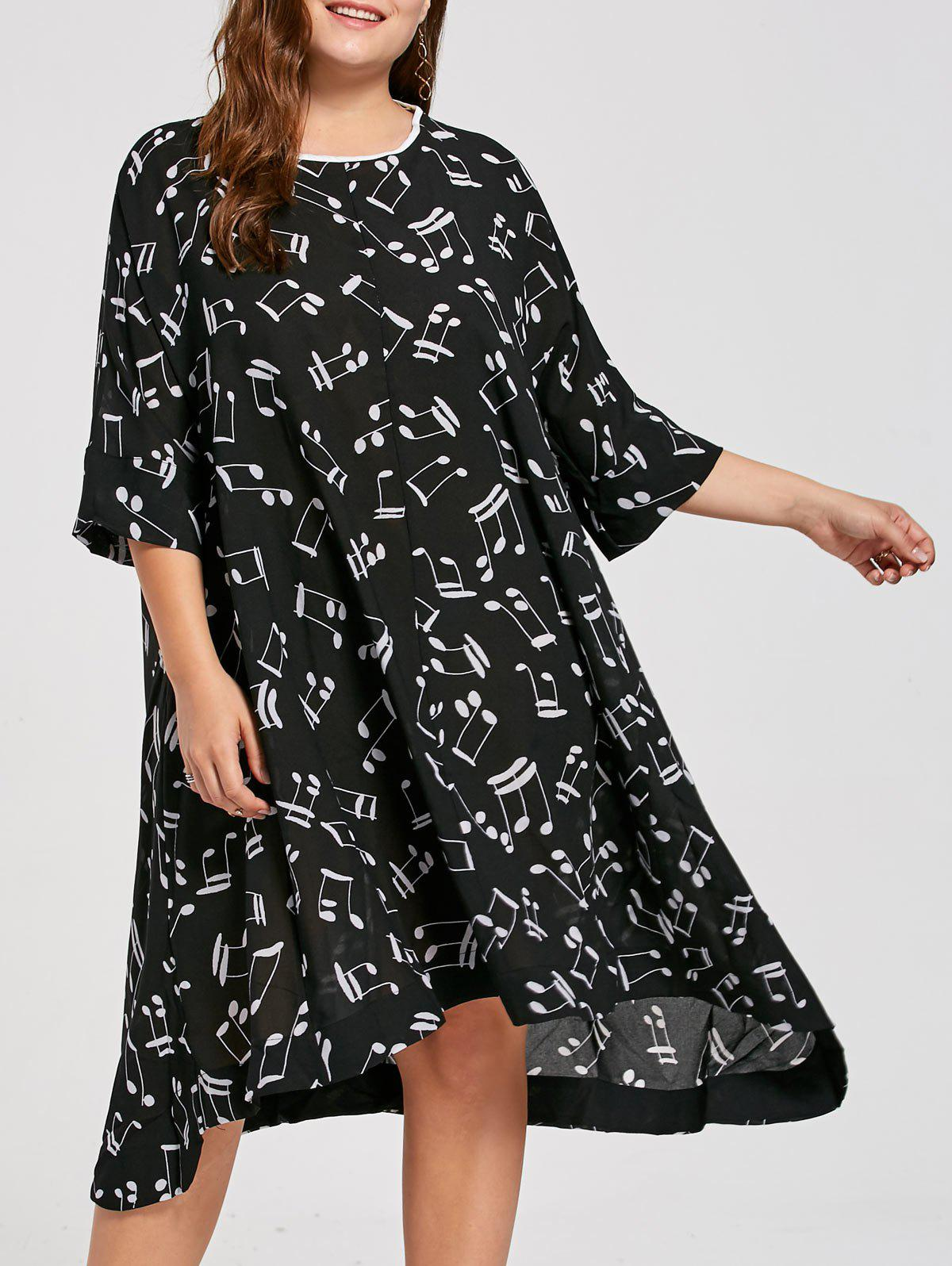 Plus Size Music Note Print Midi Smock DressWOMEN<br><br>Size: ONE SIZE; Color: BLACK; Style: Casual; Material: Cotton Blend,Polyester; Silhouette: Asymmetrical; Dresses Length: Mid-Calf; Neckline: Round Collar; Sleeve Type: Batwing Sleeve; Sleeve Length: 3/4 Length Sleeves; Pattern Type: Graphic,Print; With Belt: No; Season: Fall,Spring; Weight: 0.3400kg; Package Contents: 1 x Dress;