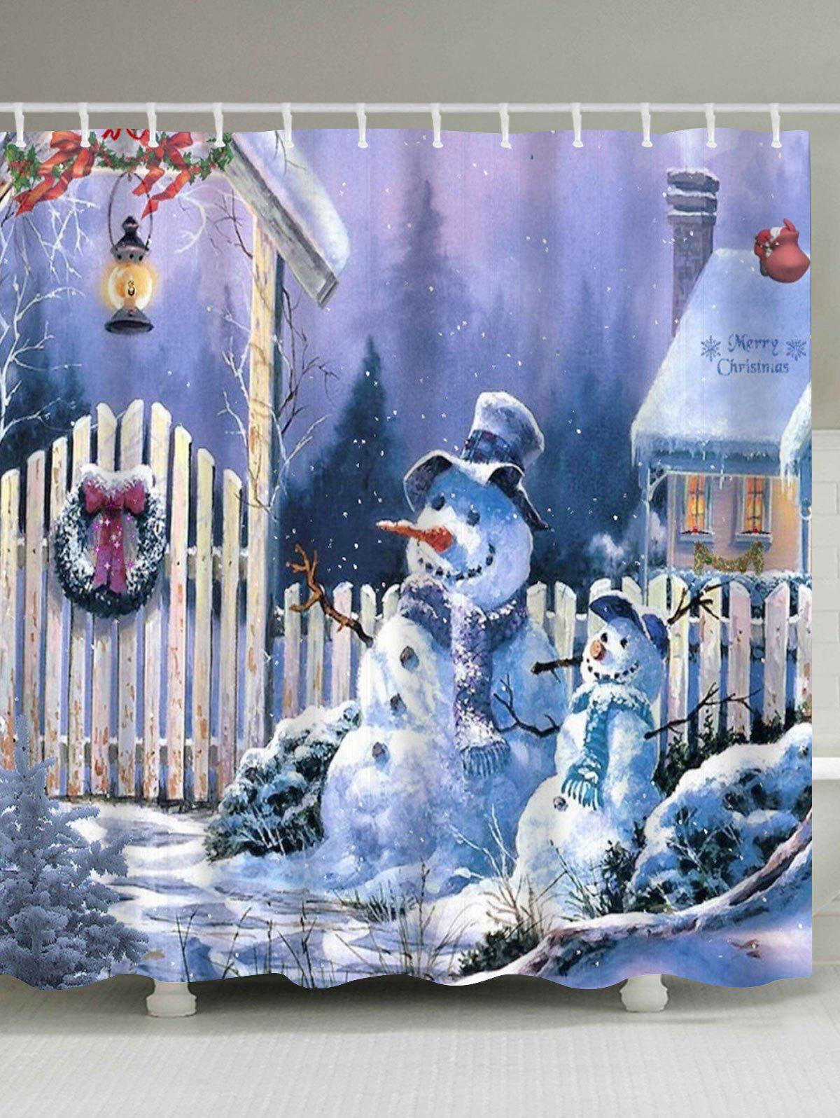 Merry Christmas Snowmen Print Fabric Waterproof Bathroom Shower CurtainHOME<br><br>Size: W71 INCH * L71 INCH; Color: COLORMIX; Products Type: Shower Curtains; Materials: Polyester; Pattern: Print; Style: Festival; Number of Hook Holes: W59 inch*L71 inch: 10; W71 inch*L71 inch: 12; W71 inch*L79 inch: 12; Package Contents: 1 x Shower Curtain 1 x Hooks (Set);