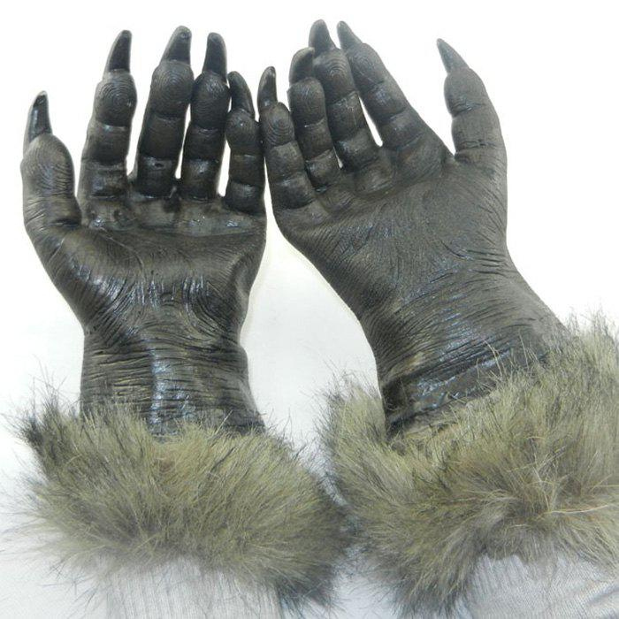 Halloween Party Accessories Wolf Claw GlovesHOME<br><br>Color: BLACK; Event &amp; Party Item Type: Other; Occasion: Halloween,Party; Shape/Pattern: Animal; Material: Latex,Vinyl; Size(CM): 29*13CM; Package Contents: 1 x Gloves (Pair);